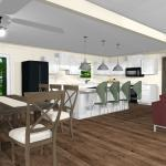 3D concept of a kitchen and dining room